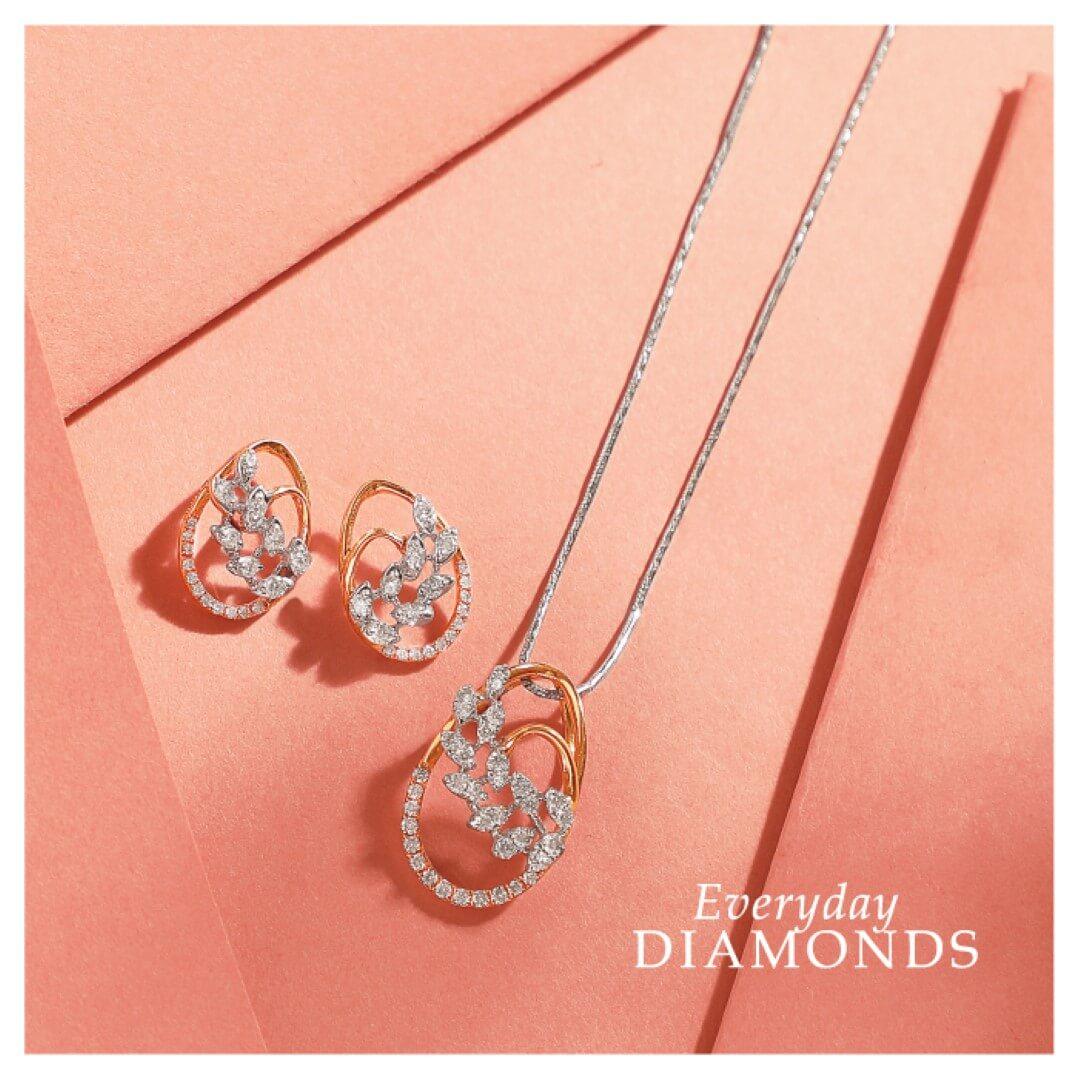 Manubhai Real Diamond Pendant set