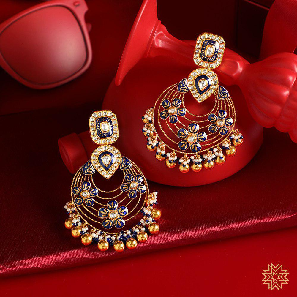 Exquisite Meenakari Chandbalis to complete your Sangeet look. Take a tour of our Bridal Jewelry Exhibition from 9th to 15th August (11 am - 7 pm) and check out our exclusive Bridal Jewellery collection.
