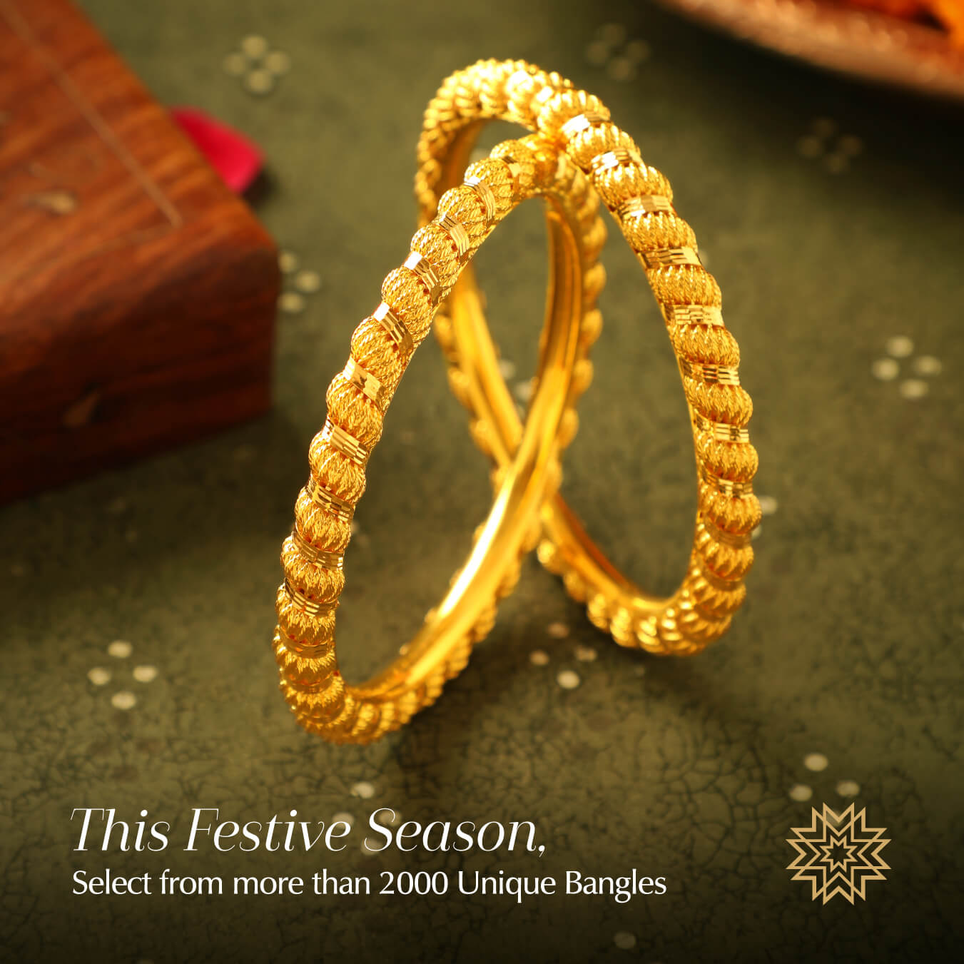 A bracelet lover, she wondered what would match her Bhai Dooj ethnic look; like the perfect savior, Bhai came to her rescue. Enclosed in a box red came his gift for little behena; a pair of dazzling gold bangles, the perfect match with her lehenga.