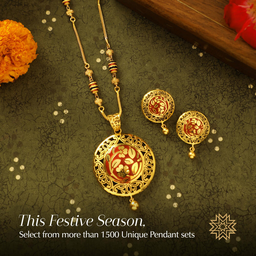 Host of the office party, she chose to don a lehenga saree that evening. To jazz up her festive wear, she picked a gold pendant set alluring.
