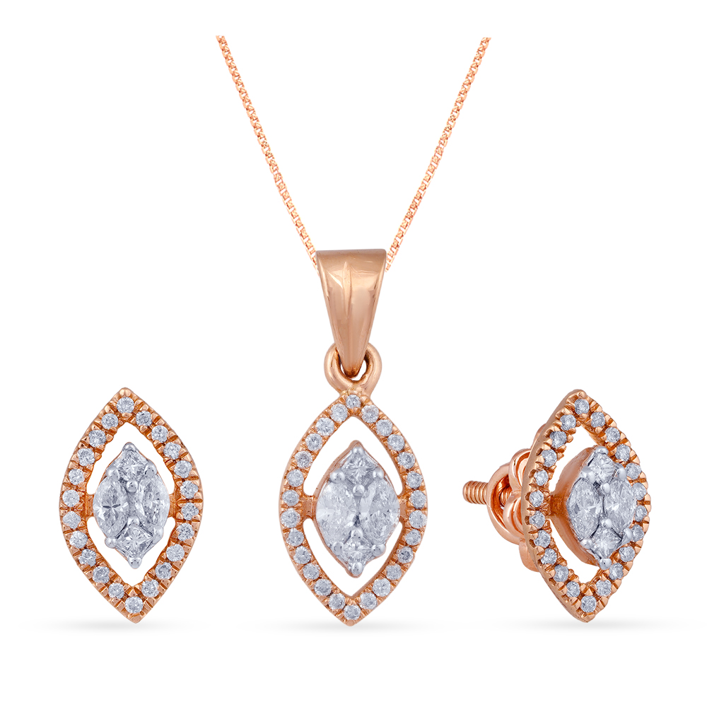 Manubhai Real Diamond Pendant set